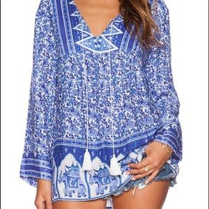 RAGA Gypsy Blues Blouse Size XS